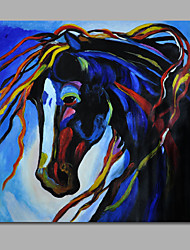 Hand-Painted Oil Painting on Canvas Wall Art Pop Art Animals Horse Blue Home Deco One Panel Ready to Hang