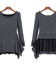 YDZ Women's Solid Color Gray Dresses , Vintage / Sexy / Party Round Long Sleeve