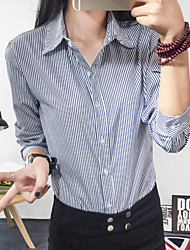 Langærmet Kvinders Ruched Krave Skjorte Polyester