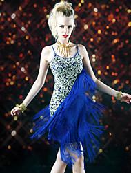 Robes ( Noire / Bleu Royal , Polyester , Danse latine ) Danse latine - pour Femme