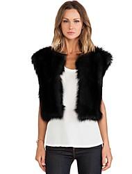 Women Faux Fur Top , Belt Not Included Fur Vest