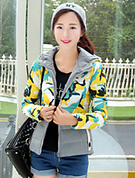 Qina Woman's Beautiful Fashion Stitching Camouflage Short Down Jacket Ladies Coat