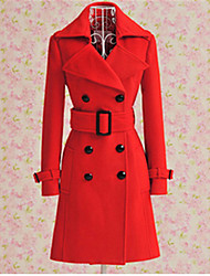 Women's Solid Color Red Coats & Jackets , Vintage / Casual Pan Collar Long Sleeve PeiNi