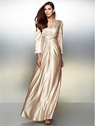 Formal Evening Dress - Champagne A-line V-neck Floor-length Charmeuse