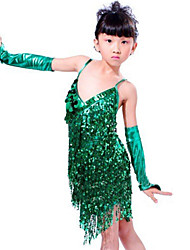 Latin Dance Outfits Children's Performance Sequined Paillettes / Tassel(s) 3 Pieces Sleeveless Sleeves / DressSkirt length : 68cm
