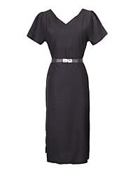 Informell V-Ausschnitt - Kurzarm - FRAUEN - Kleider ( Polyester )