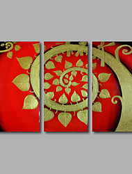 Hand-Painted Oil Painting on Canvas Wall Art Modern Golden Flowers Red Trees Home Deco Three Panel Ready to Hang