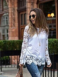 Women's Patchwork  Lace White Blouse Sexy to restore ancient ways Round Neck Long Sleeve (chiffon)