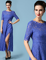 Women's Lace Blue Dresses , Casual / Lace Round ½ Length Sleeve