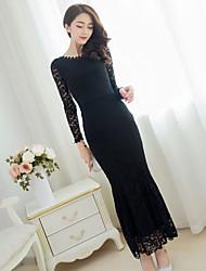 Women's Lace White / Black Dress , Lace Ruff Collar Long Sleeve