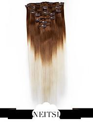 "neitsi® 20 ""7pcs establecen 100% de clip remy real en extensiones de cabello humano ombre virgen recta destacado pelo t8-60 #"