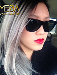 "8""-26""  Grey Lace Front Wig Two Tone Grey Human Hair Full Lace Wigs Ombre Full Lace Human Hair Wigs"