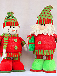 """2pcs / set 17 * 30cm / 6.7 * 11.8 """"Weihnachtsdekorationen Puppen Schneemann Weihnachtsmann Weihnachten flexible Beine Spielzeug"""