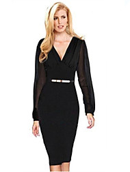 Women's Party/Cocktail Dress,Solid Crew Neck Above Knee Long Sleeve Black / Purple Fall