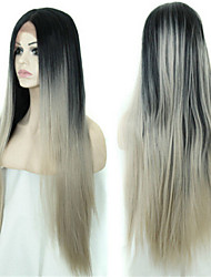 Silver Ombre Brazilian Human Hair Lace Front Wigs Full Lace Wigs Brazilian Straight Grey Human Hair Wig 18-24inch