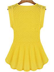 Women's Solid Yellow Blouse , Round Neck Sleeveless