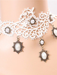 Wind Lace White Retro  Diamond  Bridal Necklace
