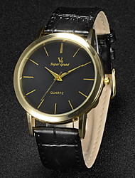 Hombre Reloj de Pulsera Cuarzo Japonés PU Banda Negro Marca- V6