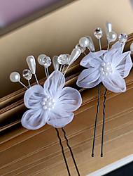 a nova edição han noiva cabelo branco flor gaze u pequenos garfos 6pcs