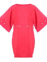 Vestidos ( Algodão ) MULHERES - Casual Redondo - Manga Curta