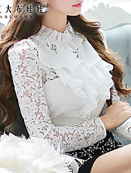 Pink Doll® Women's Lace Casual Stand Ruff Sleeve Ruffle Blouse