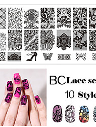 The Lace Rectangular Elements Manicure Printing Plate Hot Manicure Stamp Tool 1-10