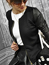 Tiffni Women's Solid Color White / Black Coats & Jackets , Casual Round Long Sleeve