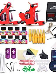 Popular Beginner Tattoo Kit Set 10 Color Inks Power 2 Guns