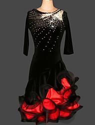 Balli latino-americani Abiti Per donna Da esibizione / Addestramento Chinlon / Velluto Cristalli/Strass / Ruches 2 pezzi Nero / Viola