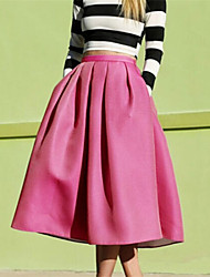 Women's Solid Blue / Pink / Black Skirts , Sexy Midi