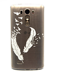 White feathers Pattern TPU Relief Back Cover Case for LG G3