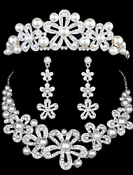 Europe And The United States Dress Accessories Han Edition Pearl Diamond Headdress Three-Piece  Wedding Outfit