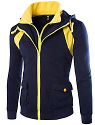 Men's Fashion New Design Big Pocket Color Block Fake Two Hip Hop Hooded Sweatshirt,Cotton/Polyester/Casual