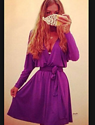 Women's Solid Green / Purple Dress (chiffon)