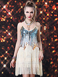 Latin Dance Dresses Women's Performance Spandex / Sequined Sequins / Tassel(s) 1 Piece Sleeveless Dress Dress length : about 92cm