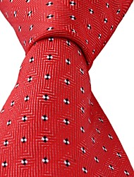 Dots Pattern Red Jacquard Men Business Suit Necktie Tie