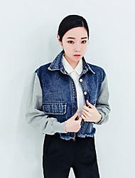 Women's Patchwork Blue / Black Denim Jacket , Casual