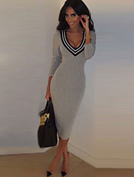 Women's Striped Gray Dress , Sexy V Neck Long Sleeve