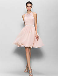 Knee-length Georgette Bridesmaid Dress A-line Jewel with