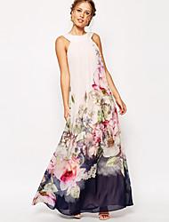 Women's Floral White Dresses , Beach / Party High-Neck Sleeveless