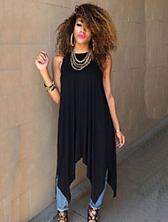 Women's Solid Irregular Ruched Dress , Casual Round Neck Sleeveless