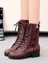 Zapatos de mujer - Tacón Bajo - Comfort / Botas a la Moda - Botas - Vestido / Casual - Semicuero - Negro / Marrón