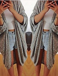 Large size Women's Solid Color Gray Coats & Jackets , Sexy / Casual Asymmetrical Long Sleeve
