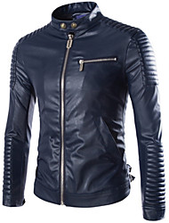 Men's Special Process Leather Motorcycle Jacket , Without Lining