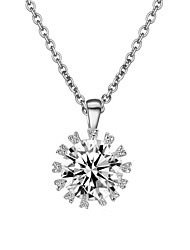 Bridal Jewelry 18k White Gold Plated Big Sparkling Top Cubic Zirconia Diamond Pendant Necklace