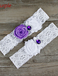 Stretch Satin / Lace Wedding Elegant Garter with Flower /Rhinestone