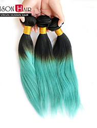 "3 Pcs/Lot 12""-24"" Brazilian Virgin Hair T1B/Green Ombre Straight Hair Weaves"