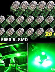 20 pcs vive coin verte t10 5-SMD 5050 conduit ampoules W5W lumière 192 168 194 2 825 12v
