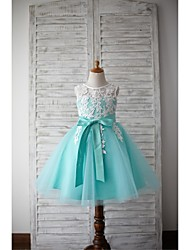 Flower Girl Dress For Girls A-line Knee-length - Lace / Tulle Sleeveless Jewel