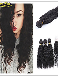 4 Pcs/Lot Brazilian Hair 3 Bundles With Closure Brazilian Kinky Curly With Closure Brazillian Curly Virgin Human Hair